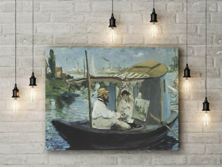 Manet: Monet in his Floating Studio Boat. Fine Art Canvas.